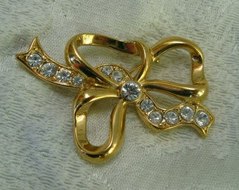 Vintage Bow Rhinestone Brooch Ribbon Pin Faux Diamonds