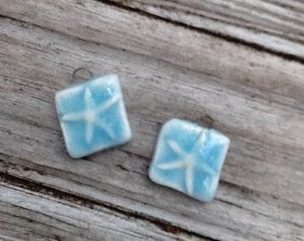 Baby Blue Starfish Ceramic Earring Set