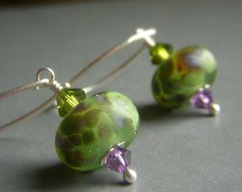 Green Lampwork Earrings, Sterling Silver Glass Earrings, Matte SRA Artisan Glass Lampwork Dangle, Olive Lavender Frosted Glass Earrings