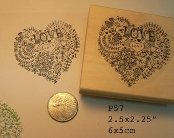 P57 Heart rubber stamp