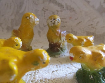 Vintage 1920's Farm Girls, Yellow Chalkware Chicks, Set Of 6, For Repair, Repurpose, Easter Chicks