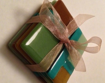 Coasters Set, Fused Glass, Brown & Teal, Item 1149