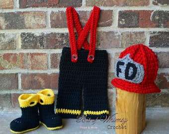 Firefighter Helmet pants boots set ,Boy Fireman Set ,Baby pants ,shoes ,booties,photography prop newborn to 12 months  , custom colors
