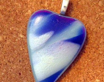 Blue Dichroic Heart Pendant Fused Glass Jewelry Dichroic Pendant Dichroic Jewelry Fused Glass Pendant