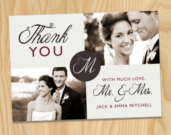 Circle Center Monogram - Custom Printable Photo Wedding Thank You Cards, Anniversary