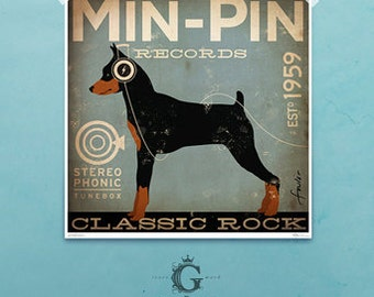 Min Pin Miniature Pinscher records original graphic art giclee archival print by Stephen Fowler