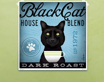 Black Cat Coffee company artwork original graphic illustration signed archival artists print giclee by stephen fowler