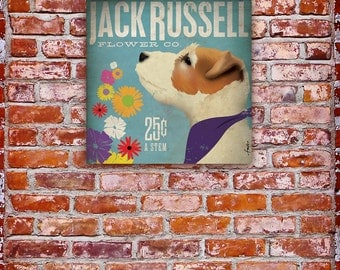 Jack Russell dog flower company graphic artwork on gallery wrapped canvas by stephen fowler