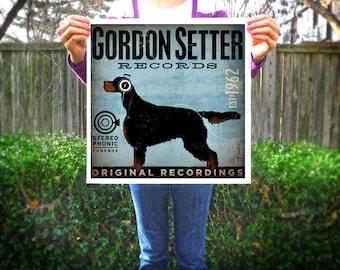 Gordon Setter dog Records album style artwork original illustration giclee archival signed artist's print by stephen fowler Pick A Size