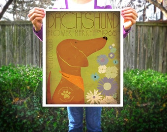 Dachshund farmers market flower company original graphic illustration signed artists print by Stephen Fowler Pick A Size