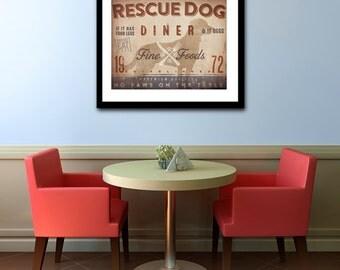 Rescue Dog Diner Kitchen Chef dog illustration artwork UNFRAMED giclee signed print by Stephen Fowler