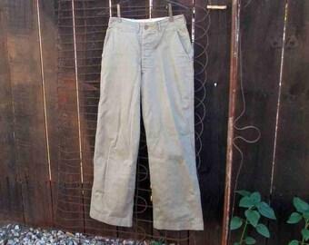 Vintage khaki Trousers 60s Vintage Military khaki Pants Cotton twill Waldes zipper High waist 30 29