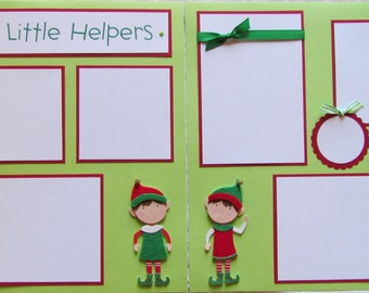 SANTA'S LITTLE HELPERS boy girl 12x12 Premade Scrapbook Pages ChRiSTMaS