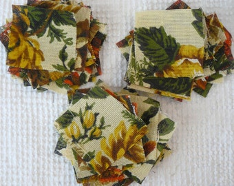 Vintage Barkcloth Fabric Quilt Squares - 69 of them - 2.75 inches square