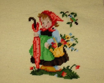 Vintage Hummel Little Girl With Umbrella Needlepoint Piece