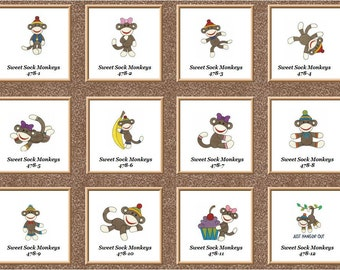 SWEET  Sock monkeys 12  quilt squares machine embroidery set