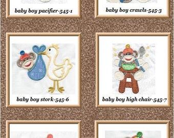 BABY SOCK MONKEY Boys applique machine embroidered set 6