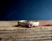 Pink Topaz Gemstone Rustic Sterling Silver Band Ring Romantic Wedding Ring Stack Ring
