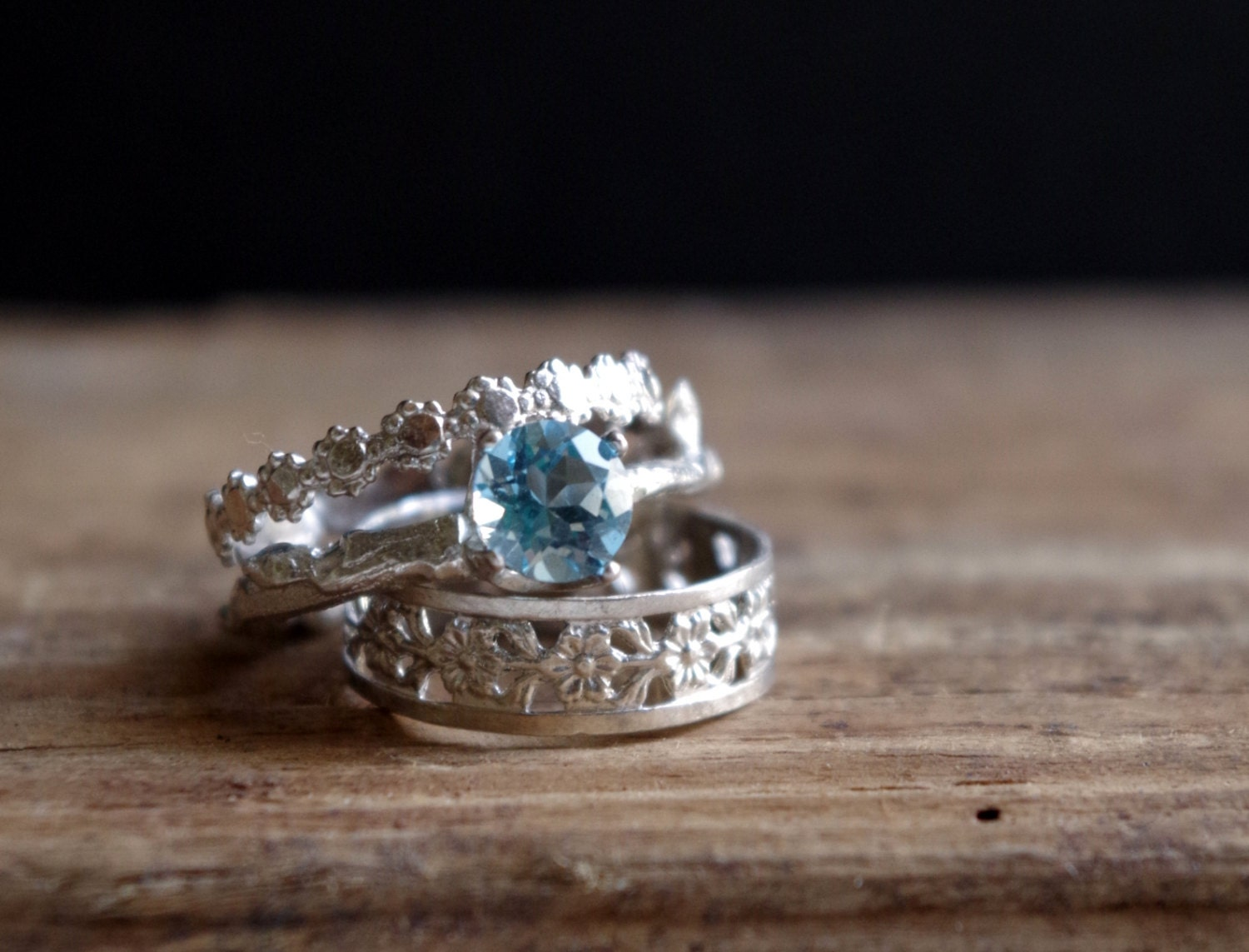 sterling silver stack rings swiss blue topaz floral ring