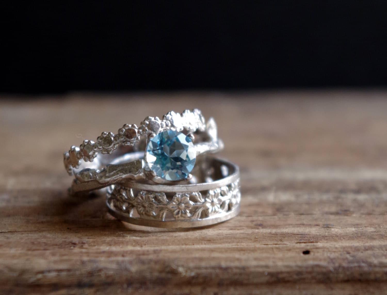 sterling silver stack rings swiss blue topaz floral ring. Black Bedroom Furniture Sets. Home Design Ideas