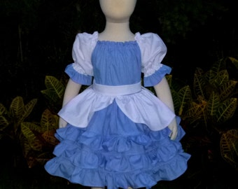 Cinderella inspired Peasant Dress, Girl Ruffle Dress, Girl Blue Dress, Toddler Dress, Fairy Tales Dress, Blue And White Ruffle Dress