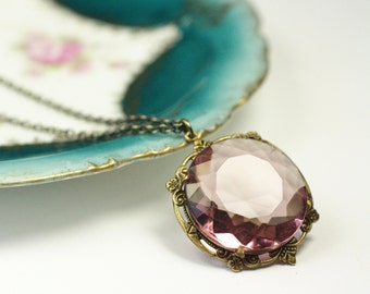 Amethyst necklace pendant jewel bridal victorian brass lavender purple vintage style wedding jewelry