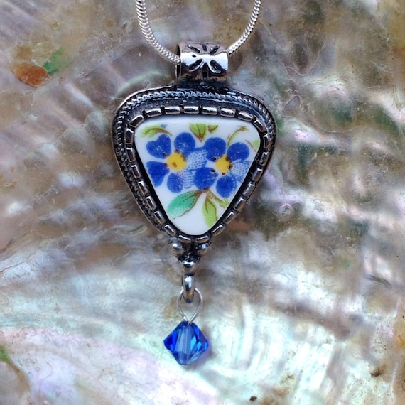 Broken China Jewelry Necklace Forget Me Nots Blue Vintage China