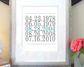 Wedding Gift Sign, Subway Art, Important Dates, Love Print