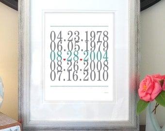 Wedding Gift Sign, Subway Art, Important Dates, Love Print