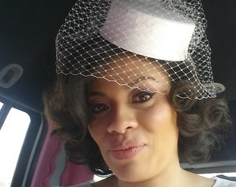 Pillbox Wedding Hat Silk Dupioni  Birdcage Veil  with Side Pouf - Made to Order - Ships in 4 Weeks