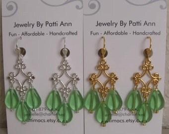 Chandelier Drop Dangle Earrings - Apple Green
