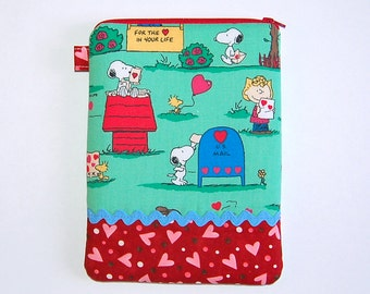 iPad Mini / Kindle / Nook / Nexus 7 Padded Cover - Handcrafted from Snoopy Homemade Valentine Fabric