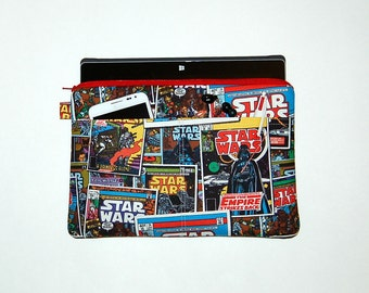 MacBook Pro 13, MacBook Air, MacBook 12, Surface Pro 3/4, iPad Pro, iPad Padded Sleeve Case Cover - Handcrafted from STAR WARS Comics Fabric