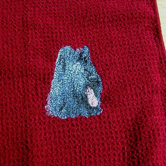 Briard Dog Embroidered Tea /Dish Towel