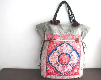 OVERSIZED tote - Ethnic / Hip / Tribal / Hmong / Miao / Bohemian Tote - 2084