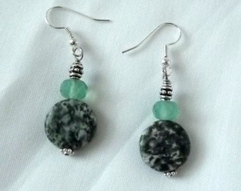 Handmade Artisan Earrings, Green Sea Glass, Natural Stone, Silver, Fresh, Organic