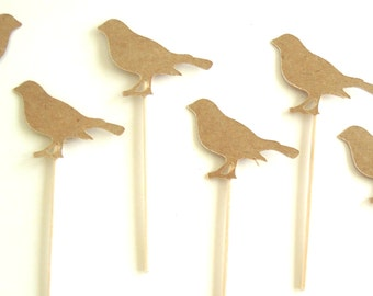 Kraft Robin Cupcake Toppers - Set of 12 Toppers