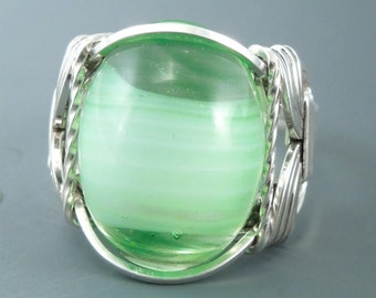 Sterling Silver Wire Wrapped Green Swirl Glass Cabochon Wire Wrapped Ring