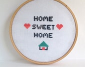 Home Sweet Home embroidery.  Cross stitch.  Embroidery hoop art.  for the home.  wall art.  5 inch hoop