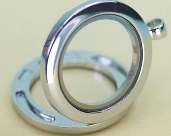 3 Glass Locket Empty Space Silver Pendant Charm