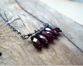 Garnet Stack Necklace. Garnet JewelryOxidized  Sterling Silver January Birthstone Holiday Jewelry Modern Metalwork Gemstone Jewelry
