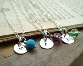 Personalized Initial Silver Charm Necklace With Birthstone Crystal - SET OF 3 - Monogram Pendant, Custom Initial Pendant - Bridesmaids