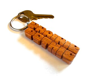 Custom 2-Liner Keychain in Mesquite Wood, Names Carved to Order