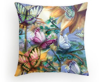 Sunflowers and Monarchs, Designer Pillow cover from original Art
