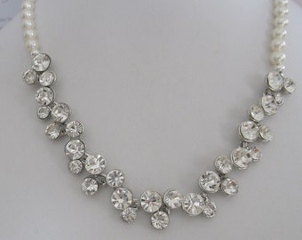 Bridal Jewelry - Bridesmaids Jewelry - Bride Necklace - Rhinestone Pearl Bridal Necklace - Bridal Accessories- Wedding Jewelry