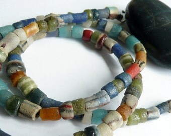 Unisex Multi Colored Sand Cast African Bead Sterling Silver Leather Lace OOAK Boho Rustic Organic EarthyTribal Necklace