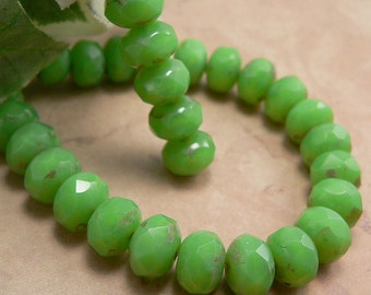Lime Green Czech Glass Beads Rondelle Mantis Opalite Picasso 6x8mm (12)