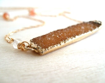 Apricot Druzy Bar Necklace Moonstone gemstone Gift for her Under 75 Vitrine Fall Fashion