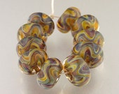 RESERVED FOR LEE...Handmade Lampwork Borosilicate Glass Beads, set of 10, Celeste