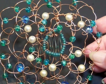 Wire Kippah Yarmulke - Copper Wire with Teal Glass Beads